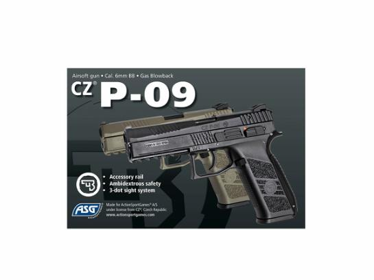 Airsoftpistol, GBB, CZ P-09, FDE full color